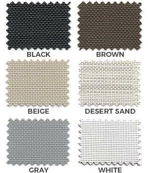 Suntex 80 and Suntex 90 Shade Screen Fabric Colors